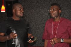 TALKE Tv interview Host, Femi Ipadeola and Co-owner,Latitude Lounge Morakinyo Tytbones chilling out after the interview