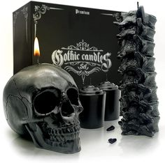 Spine & Skull Candle Set - Scented 4 Pack - Gothic Decor for Bedroom... Gothic Bathroom Decor, Gothic Home Decor, Gothic Bedroom, Haunted Mansion Decor, Creepy Home Decor, Pagan Decor, Skull Candle, Horror Decor, Gothic Furniture