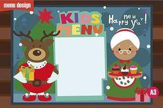 Kids menu Christmas characters by Severalmilk on @creativemarket