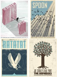 Band posters of Spoon, Ratatat, & The Broken West