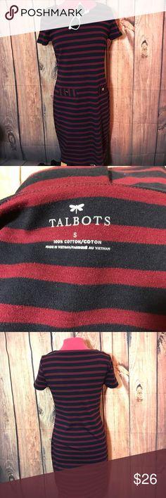 Talbots striped cotton dress sz medium blue red Supper soft pullover sweater like cotton dress. Size Medium. Short Sleeve. Perfect for Spring Summer. Talbots Dresses Midi