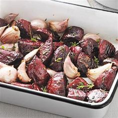 Roasted garlic and thyme beetroot. another way to do it is to place the sliced unpeeled beetroot in aluminium foil along with the smashed garlic bulb, rosemary instead of thyme, toss with olive oil, balsamic vinegar and seasoning, make a foil packet and roast 40 mins.