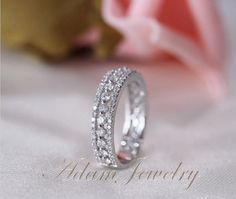1.1ct Diamonds Ring/ Engagement Ring 14k White Gold Wedding Ring/ Full Eternity Band/  Anniversary Ring