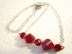 Red and silver bead necklace. $20.00, via Etsy.
