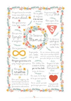 Lámina descargable gratuita A4 especial Dia de la madre en www.miamandarina.es #descargable #printable #diadelamadre (flores basadas en diseño vectorial de freepik)