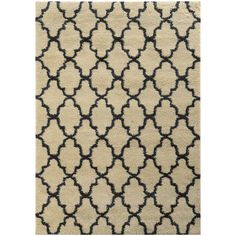 Style Haven Scalloped Lattice Shag Ivory/ Midnight Rug