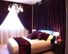 Dark Purple with deep wine or red throw and pillows