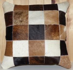 COWHIDE PILLOW COVER - HIGH QUALITY LEATHER FROM ARGENTINA - REAR SIDE: SUEDE MATERIAL WITH HIDDEN ZIPPER - 100% HANDMADE - SIZE: 16 INCHES X 16