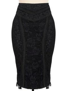 Immortal Rose Black Pencil Skirt $52.00 AT vintagedancer.com