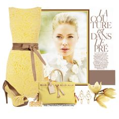 Yellow Lace Dress, created by marykate2345 on Polyvore