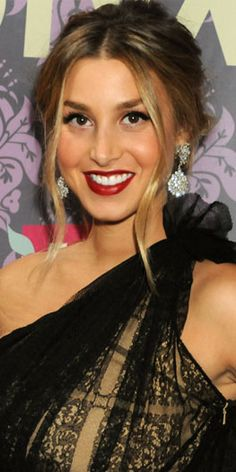 Whitney Port donning ombre locks in a sexy, casual bun and deep lips