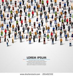 A large group of people. vector background - stock vector