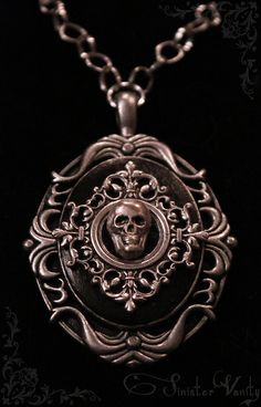 Gothic Victorian Antiqued Silver Filigree Skull Black Onxy Bead Chain Cameo Jewelry Necklace