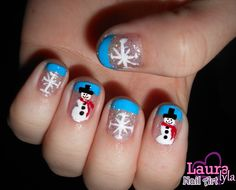 Snowflake & Snowman Nails  View tutorial here http://www.youtube.com/watch?v=3zibM0gmCjg&feature=channel_video_title