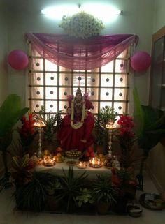 Backdrop Decorations, Diwali Decorations, Festival Decorations, Flower Decorations, Ganpati Decoration Design, Ganesh Chaturthi Decoration, Ganapati Decoration, Pooja Room Door Design, Diwali Diy
