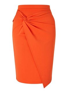 Miss Selfridge Orange Knot Front Midi Skirt Midi Skirt Outfit, Skirt Outfits, Orange Skirt Outfit, Going Out Skirts, African Fashion Dresses, Fashion Outfits, Elegante Y Chic, Calf Length Skirts, Jersey Skirt