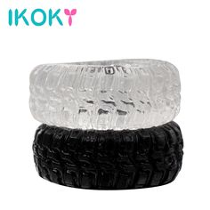 IKOKY Tire Type 2Pcs/Set Silicone Delay Ejaculation Cock Rings Black/Transparent Sex toys for Men Penis Rings Sex Cockring