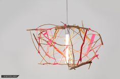 Natural Scatter Gather light With Pink Ribbon (other colors, natural, etc. Modern Pendant Light, Pendant Lighting, Steel Canopy, Lamp Socket, Natural Building, Light Crafts, Scatter Gather, Modern Lighting, Light Fixtures