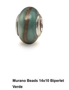 Murano Beads 14x7 Biperlet Verde MU14X7BIV Perlamore Sfera Argento Originale  | eBay