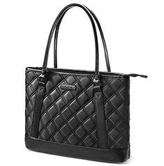Laptop Tote Bag, DTBG 15.6 Inch Nylon Classic Diamond Pattern Travel Business Computer Shoulder Bag Carrying Briefcase Handbag For 15 - 15.6 Inch Laptop / Notebook / MacBook / Ultrabook /Tablet,Black