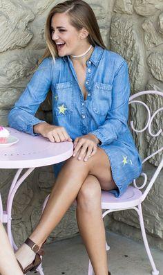 Blue Denim Shirt Dress w/Embroidered