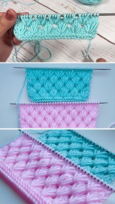 stricken Pistachio Knitting Stitch – Easy Tutorial 11 Pics - how to crochet chunky blanket Baby Knitting Patterns, Knitting Stiches, Easy Knitting, Crochet Stitches, Crochet Patterns, Start Knitting, Knitting Yarn, Crochet Ideas, Crochet Pouf