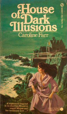 House Of Dark Illusions, Caroline Farr Romance Novel Covers, Romance Art, Romance Novels, Gothic Books, Horror Books, Horror Art, Pin Up, Vintage Book Covers, Mystery Books
