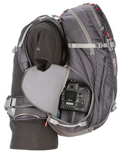 Ultimate Winter Sports and Climbing Backpack - The Contrejour is an uncompromising camera case wrapped in a full-featured back-country ski and climbing pack. Designed for serious photographers and die-hard adrenaline junkies who work and play all in the same day. Enjoy the roomy organization of the Cradle Zone™* camera bay with back panel access that keeps photo equipment safe.