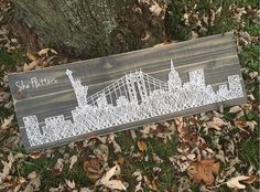NYC, New York City Skyline, Statue of Liberty, GWB, George Washington Bridge Pallet Wood Rustic Style String Art-A personal favorite from my Etsy shop https://www.etsy.com/listing/236270873/nyc-new-york-city-skyline-statue-of