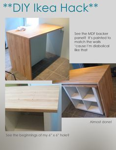 Easy to build 3-in-1 kitchen island.  Post contains plans and instructions to make your own kitchen island from Ikea parts. Project by sketchystyles.com #DIY #Ikeahack