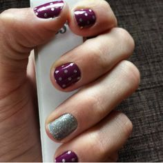 Jamberry Icy Boysenberry Polka with Diamond Dust Sparkle One of my favorite looks for fall www.katesjamminjams.jamberrynails.net