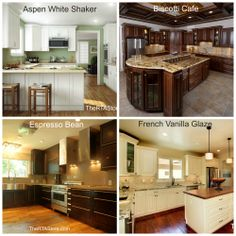 Which kitchen is your favorite?  Aspen White Shaker Biscotti Cafe Espresso Bean French Vanilla Glaze  #KitchenOfTheDay #Kitchen #Cabinets REPIN and comment to let us know which one you like best!