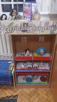 Private animal healthcare, in other words a vets role play area. Dramatic Play Area, Dramatic Play Centers, Play Corner, Pet Vet, Play Based Learning, Play Centre, Pretend Play, Kids Role Play, Creative Play