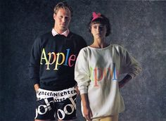 1986 Apple clothing collection. Totally Rad! I need some 'Nightclub' shorts.