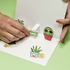 How to make a super cute handmade cactus pop-up card for any occasion #darbysmart #diy #diyprojects #diycrafts #diyideas #artsandcrafts #summercrafts #cardmaking #justbecause #tutorial #birthdaycards