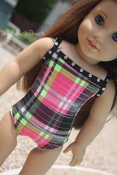 Plaid Swimsuit/Leotard with Black Sequin Trim - For American Girl Dolls Bitty Baby Clothes, Ag Doll Clothes, Doll Clothes Patterns, Doll Patterns, American Girl Dress, American Girl Clothes, Doll Costume, Girl Costumes, American Girl Accessories