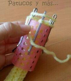 How to knit crochet basket video tutorial Spool Knitting, Loom Knitting Projects, Loom Knitting Patterns, Crochet Projects, Crochet Patterns, Crochet Cord, Crochet Stitches, Cordon Crochet, Finger Knitting