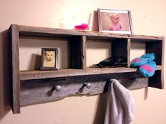 "30"" Barnwood Coat Rack And Shelf Organizer"
