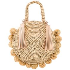 Loeffler Randall Straw Circle Tote ($290) ❤ liked on Polyvore featuring bags, handbags, tote bags, straw tote, straw handbags, straw purse, tote handbags and man bag