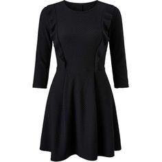 Miss Selfridge PETITE Black Skater Dress ($40) ❤ liked on Polyvore featuring dresses, black, petite, textured dress, skater dress, flutter-sleeve dress, frill dress and frilly dresses