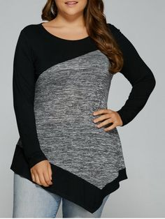 GET $50 NOW | Join RoseGal: Get YOUR $50 NOW!http://www.rosegal.com/plus-size-tops/plus-size-heather-patchwork-asymmetrical-845566.html?seid=6833286rg845566