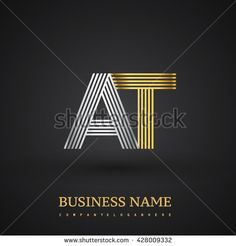 Letter AT company linked letter logo icon gold and silver. Elegant gold and silver letter symbol. Vector logo design template elements for company identity. - stock vector