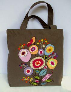 Handmade tote handbag made by durable brown cotton canvas
