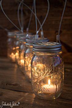 Set of 5 Hanging Mason Jar Candle Holders - Hanging Wire - Patio Decorations - Farmhouse Wedding Candles - Wedding Candle Holders - Rustic