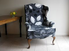 The combination of gray floral upholstery and walnut legs provide this chair with super chic and comfy appearance. Ikea Fabric, Wing Chair, Living Room Interior, Wingback Chair, My Room, Chair Design, Seat Cushions, Interior Inspiration, Accent Chairs