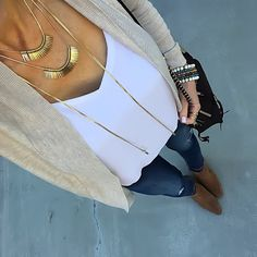 Neutral Cardigan, White Cami, Gold layered lariat necklace, Jeans | On the Daily EXPRESS- Instagram: @ontheDailyX