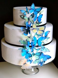 EDIBLE Butterflies The Original - Assorted Blue and Green- set of 30 - Cake & Cupcake toppers - PRECUT and Ready to Use. $24.95, via Etsy.
