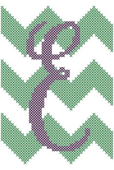 """Chevron Style with Initial Cross Stitch Pattern 4"""" x 6"""" You choose the letter"""