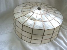 I ❤️ capiz shell light fixtures!   Vintage Mid-Century Capiz Shell Shade Ceiling Lamp Hanging Light