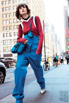 Sibui tries on color-blocking in Marni sweater, pants and heels